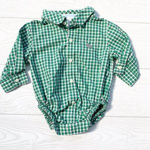 NEW Janie And Jack Plaid Layette Button Up Onesie